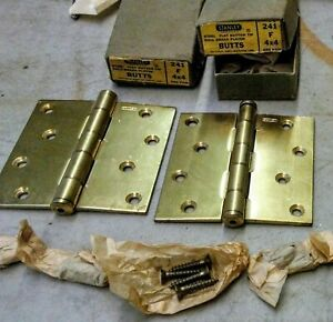 2 Pair Of Nos Vintage Stanley Brass Butt Hinges 4 X 4 241 F