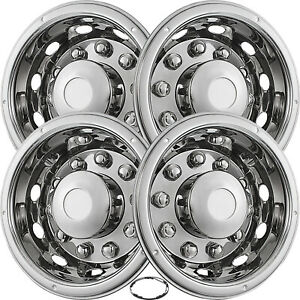 22 5 Wheel Simulators Hubcaps 10 Lug Universal Set 4 Stainless Steel Rim Bus