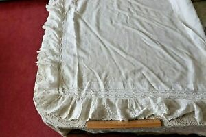 French Antique C1870 80 Handkerchief Linen Hand Embroidered Shawl L 35 X W 33