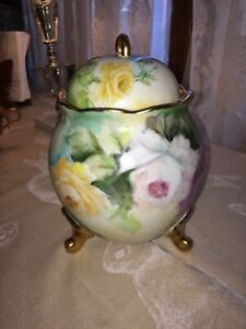 Hand Painted Yellow White Lavender Rose Biscuit Jar Signed By Artist R Jeske