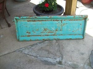 Vintage 55 59 1957 Chevy Truck Stepside Tailgate Beautiful Green Paint Patina