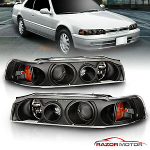 90 93 Honda Accord 4dr Sedan Projector Black Blk Headlights Left Right Lamps New