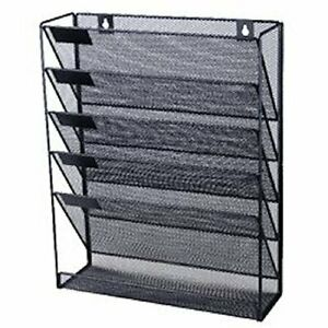 Mesh Wall Literature Holder Magazine Hanging File Black Home Office Organizer