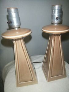 Art Deco Pair Of Ceramic Mid Century Modern Lamps 12 Tall