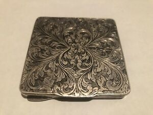 Vintage Italian 800 Silver Floral Ornate Mirrored Compact
