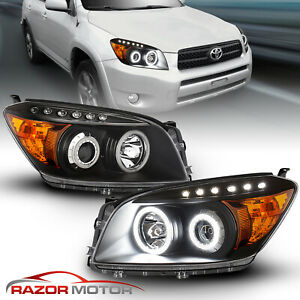For 2006 2008 Toyota Rav4 Dual Led Halo Projector Black Headlights Pair