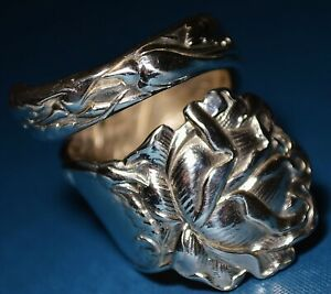 Highly Ornate Alvin Bridal Rose Sterling Silver Spoon Ring Free Shipping