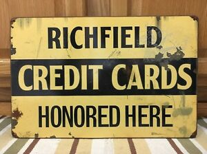 Richfield Credit Card Gas Station Oil Wall Decor Garage Vintage Style Car Truck