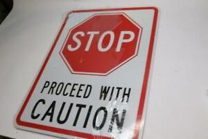 Stop Proceed With Caution Sign Metal Aluminum Sign 12 X 18