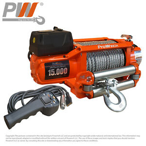 Prowinch 15 000 Lbs Electric Waterproof Winch Steel Rope 24v Wireless