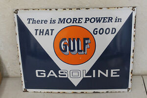Good Gulf Porcelain Enamel Signs Vintage Style Car Dealer Advertising
