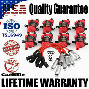 8 Pack Ignition Coils Spark Plug Wires Set For Chevy Silverado Gmc D585 Uf 262