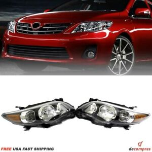 Fits For 2011 2013 Toyota Corolla Front Headlights Black Housing Pair Set