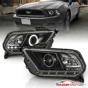 Ccfl Halo 2010 2014 Ford Mustang Black Led Projector Headlights 6led Drls Set