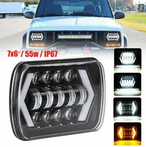 55w 7x6 5x7 Led Projector Headlight Hi lo Beam Halo Drl For Jeep Cherokee Hf