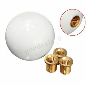 Universal Car Glossy White Round Ball Resin Gear Shift Knob Shifter Stick