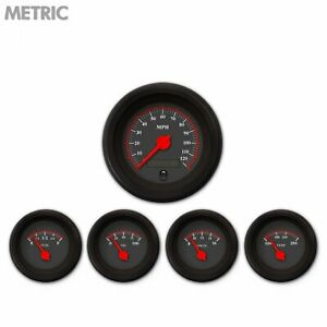 5 Gauge Set Metric Omega Black W Red Needles Classic Truck Street Rod Gasser