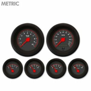 6 Gauge Set Speedo Tacho Oil Temp Fuel Volt Omega Black Red Led Metric Blk Trim