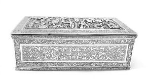 Beautiful Persian Solid Silver Hand Chased Qajar Period Table Box Ca 1890