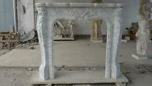 Beautiful Hand Carved French Style Carrara Fireplace Mantel Cfp65