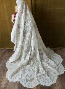 Beautiful Antique French Alencon Lace Oval Tablecloth Or Bridal Veil 70x68