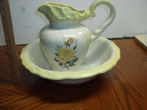 Antique Large Pitcher And Water Basin White With Yellow Pink Flowers 1900 S