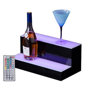 2 Step Tier 16 Led Lighted Back Bar Glowing Liquor Bottle Display Shelf Stand