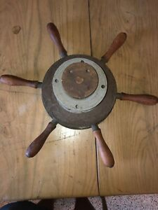 Old Vintage Brass Ship S Wheel Wooden Handles Nautical Maritime Boat Man Cave