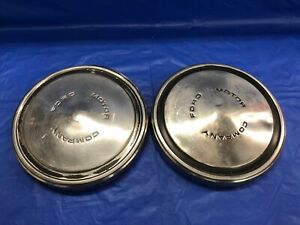 Vintage Pair Of 1968 76 Ford Stainless Steel Dog Dish Hubcaps F100 Poverty Car