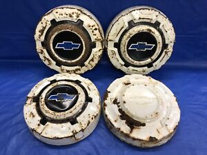 Vintage Set Of 4 1969 77 Chevrolet Dog Dish Hubcaps C10 Truck Rat Rod Or Restore