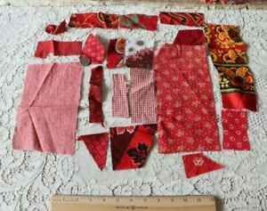 Lot Of 16 Antique French American Cotton Turkey Red Fabrics Bandana Quilts