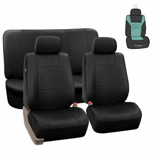 Black Pu Leather Car Seat Split Bench Covers Auto Car Suv W Free Air Freshener