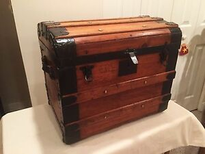 Dome Top Vintage Steamer Trunk With Metal Straps Rare Size
