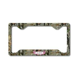 Pink Monogram Deer Antlers Camo Personalized Custom Car License Plate Frame