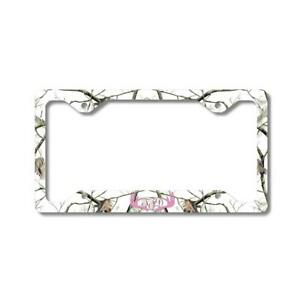 Pink Monogram Deer Antlers White Camo Personalized Car License Plate Frame