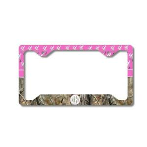 Hot Pink Monogram Deer Buck Camo Personalized Custom Car License Plate Frame