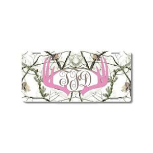 Pink Monogram Deer Antlers White Camo Personalized Custom Car License Plate