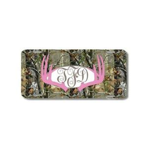 Pink Monogram Deer Antlers Camo Personalized Custom Car License Plate