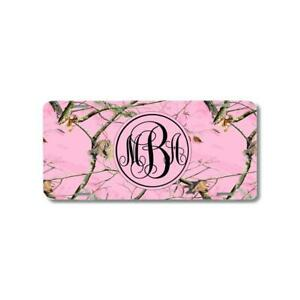 Monogram Pink Camo Personalized Custom Car License Plate