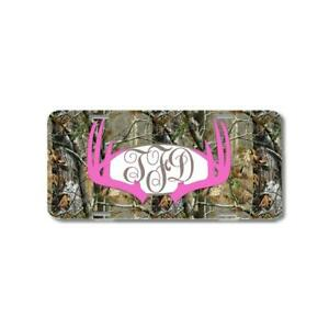 Hot Pink Monogrammed Deer Antlers Camo Personalized Custom Car License Plate