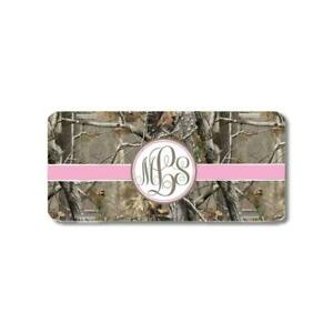 Brown Camo Pink Ribbon Monogram Personalized Custom Car License Plate