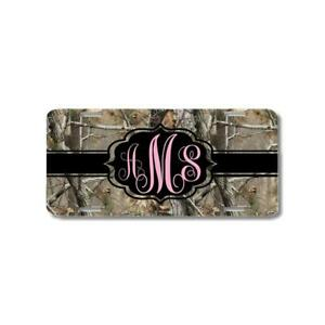 Brown Camo Pink Black Ribbon Monogram Personalized Custom Car License Plate