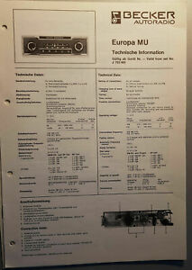 Radio Becker Europa Technical Informations And Repair Manual