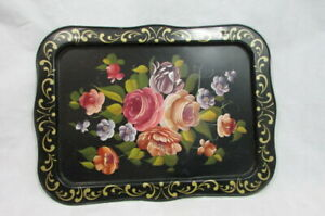Vtg Metal Tray Hand Painted Toleware Floral 22 X 16