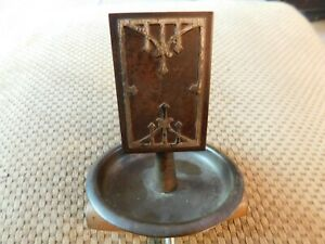 Antique Arts And Craft Copper And Silver Match Holder And Tray