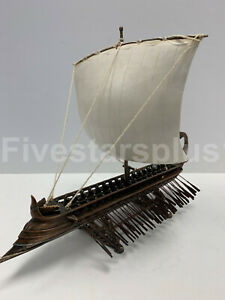 Triremes Greek Warship Handcrafted Model Ship Cold Cast Bronze