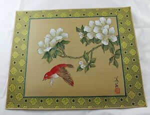 Vintage Chinese Painting On Silk Asian Floral Tree Bird Signed Unframed