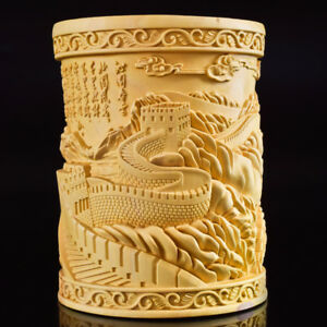 Chinese Boxwood Hand Carved The Great Wall Exquisite Brush Pot Pencil Vase