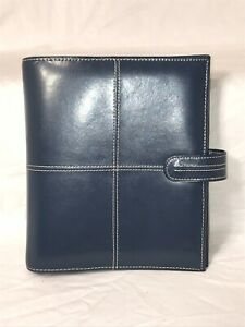 Franklin Covey Blue Genuine Leather Binder 7 Ring Organizer Button Closure