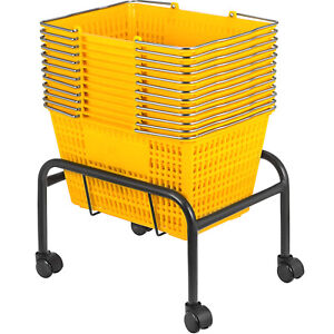 Yellow Plastic Shopping Basket Pack Of 12 Handled Baskets 17x11x9 8in